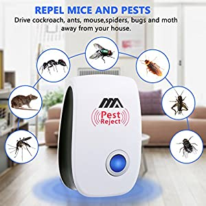 Adoric Ultrasonic Pest Repeller - Electronic Pest Control Plug In-Pest Repellent for Insects -Mice, Roaches, Bugs , fleas , Mosquitoes and Spiders - Set of 4