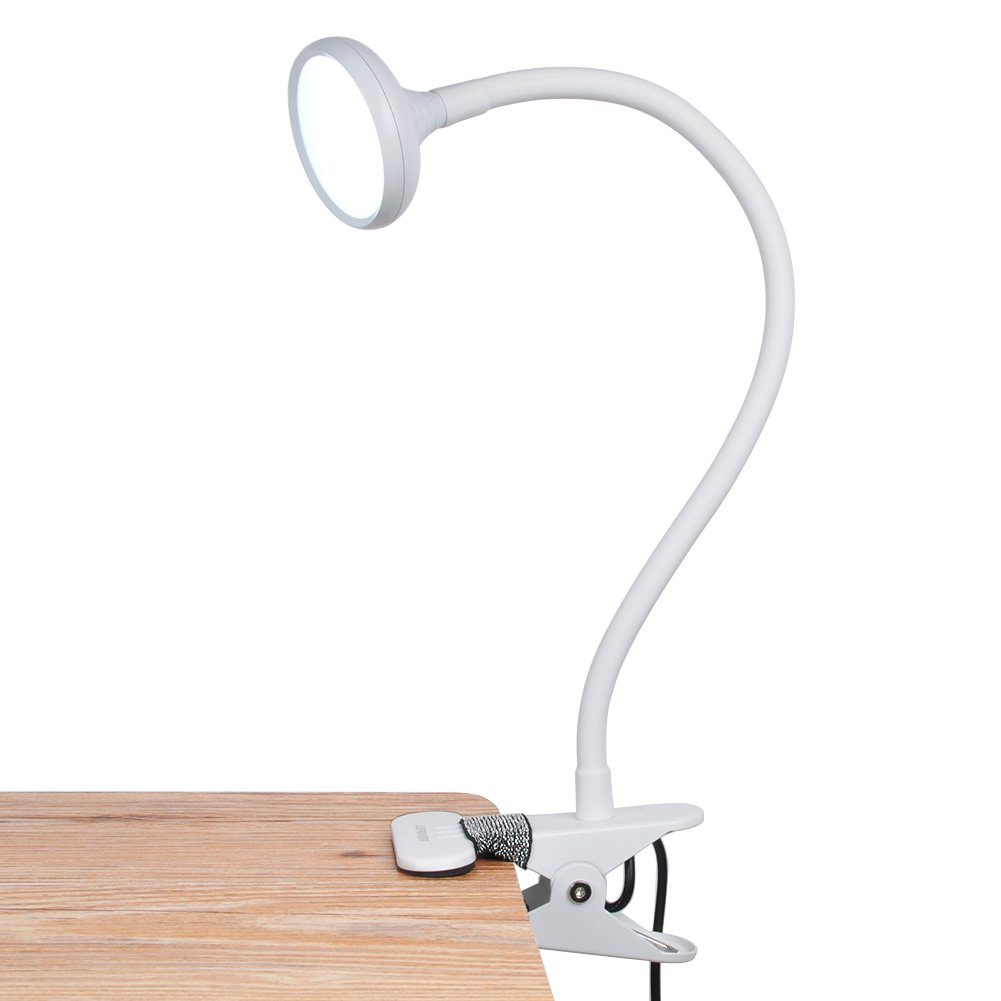 LEPOWER LED Clip On Lamp, 360° Angle Changeable Gooseneck, Brightness Changeable, 3W, Perfect Desk/Bed Lamp for Reading, Studying, Working [Energy Class A+]