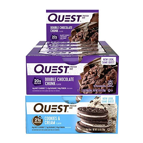 Quest Nutrition Protein Bar Sweet Treats Mix-Up (Double Chocolate Chunk + Cookies and Cream). Low Carb Meal Replacement Bar w/ 20g+ Protein. High Fiber, Soy-Free, Gluten-Free (24 Count)