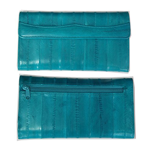 Genuine Eel Skin Leather Womans Long Wallet Trifold Purse (Teal)