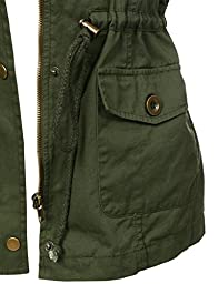 LE3NO Womens Utilitarian Military Anorak Vest with Pockets