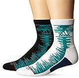 adidas Men's High Quarter Socks (2 Pack), White/Shock Mint/Steel Grey/Ray Red, Men's Shoe 6-12