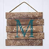Artblox Rustic Personalized Family Sign Home Decor, Custom Family Name, Family Initials & Established, Vintage Barn Wood Farmhouse Wooden Country Pallet Plaque 15×18 – Morgan Family – Floral For Sale