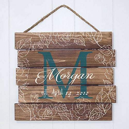 Artblox Rustic Personalized Family Sign Home Decor, Custom Family Name, Family Initials & Established, Vintage Barn Wood Farmhouse Wooden Country Pallet Plaque 15x18 - Morgan Family - Floral