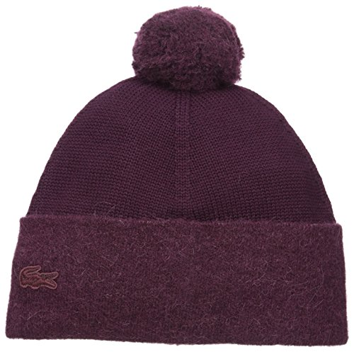 Lacoste Women's Pom Knit Beanie, Vendange/Vendange, One Size