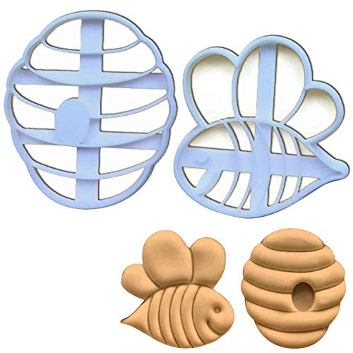 SET of 2 cookie cutters (Cute Bee and Beehive), 2 pcs, Ideal for baby shower party