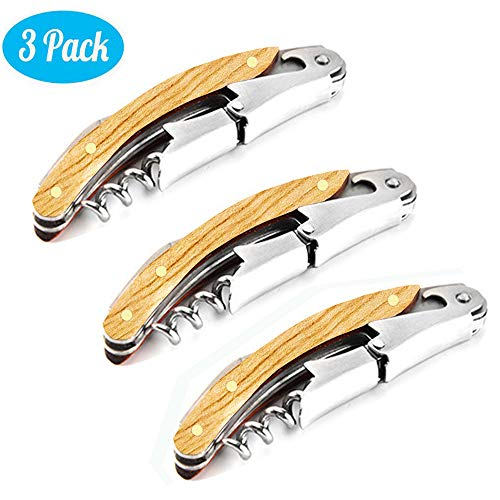 Professional Wine Openers 3 Packs Upgraded With Bamboo-Wood Stainless Steel Handle Waiter Corkscrews Wine Keys for Restaurant Waiters Sommelier Bartenders (Bamboo-Wood Handle Wine Openers 3 Packs) ()