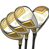 Japan Epron Gold Hybrids Golf Club Wood Set+Leather Cover(16,19,21,24 Degree Loft,Regular Flex,Graphite Shaft,Grip 0.6,Pack of 4)