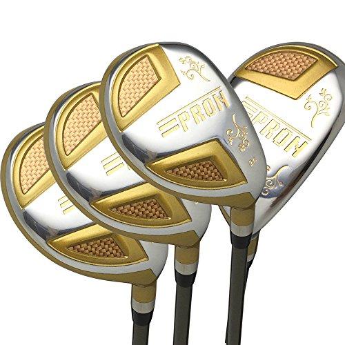 Japan Epron Gold Hybrids Golf Club Wood Set+Leather Cover(16,19,21,24 Degree Loft,Regular Flex,Graphite Shaft,Grip 0.6,Pack of 4)