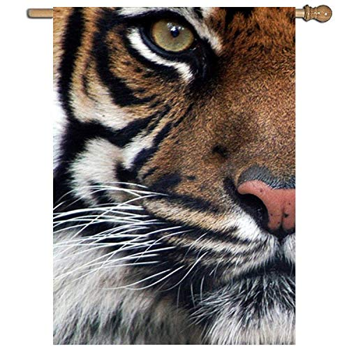 AshasdS Flag Powerful Tiger Face Double Side Polyester Garden Flag Yard Banner for Celebrate Holiday Decor 16x30 Inch ()