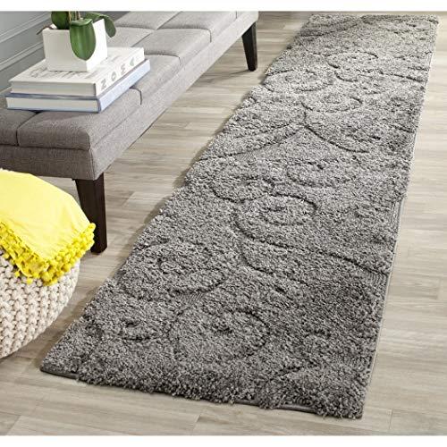 2'3 x 9' Grey Shag Runner Rug Rectangle, Gray Shag Hallway Carpet Shaggy Flower Theme Carpeting Modern Super Soft Flowers Pattern Entryway for Living Area Entrance Way, Polypropylene