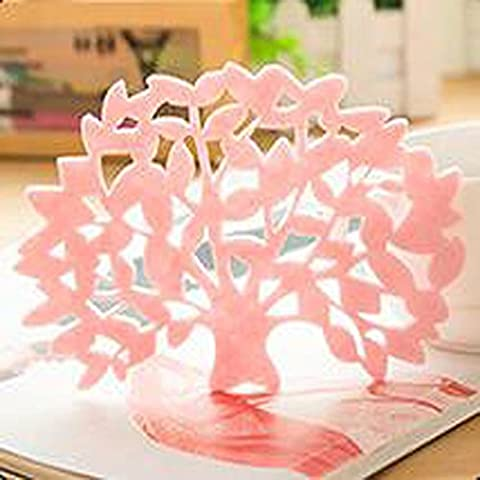 B&Y Set of 6 Lovely Tree Lace Felt Cup Mat Place Mat (Pink)