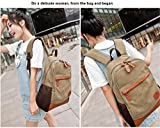 SCIONE Canvas School Backpack Travel Backpack Reinforced Leather Bottom