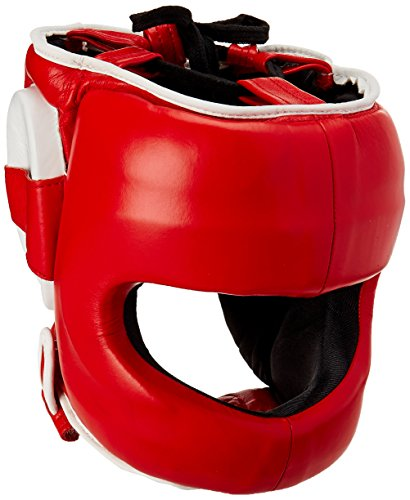 Ringside Deluxe Face Saver Boxing Headgear Black//Red