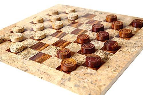 Chess Onyx Red Set (RADICALn Checkers Board Game 16 Inches Red and Coral Handmade Marble Coffee Time Checkers Game - Non Wooden Non Dominoes Non Cloth Non Chess Set - Fun Table Draughts Board Games for Kids and Adults)