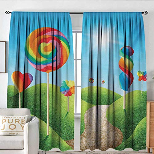 NUOMANAN Modern Blackout Curtain Fantasy,Fantasy Candy Land with Delicious Lollipops and Sweets Sun Cheerful Fun Print,Green Blue Red,Blackout Draperies for Bedroom 84