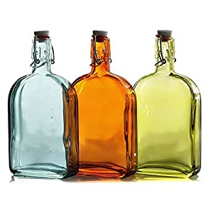 Grant Howard Assorted Color Glass Flasks with Wire Bail Closure 18 Ounce Cruet, Set of 12