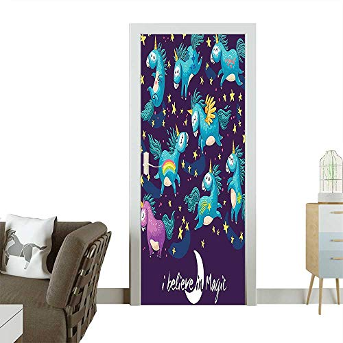 Decorative Door Decal and Kids Original Divine Winged Unicorn Horned Horse Miracle Art Design Teal Stick The Picture on The doorW38.5 x H79 INCH