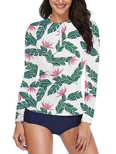 Daci Women Rash Guard Long Sleeve Swimsuit with Zipper Two Piece UPF 50 Green XS