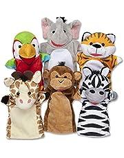 Melissa & Doug Safari Friends Handpoppen, handpoppen en theater, zacht speelgoed, 3+, cadeau voor jongens of meisjes