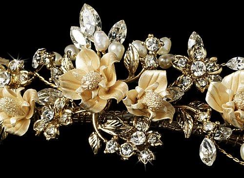 Caitlin Gold & Champagne Wedding Bridal Tiara