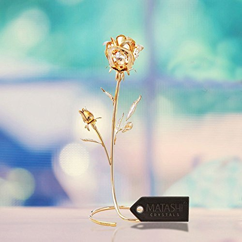 "Valentines Day Gift - Double Rose Crystal Studded ""Loving Flower Ornament"" Dipped in 24K Gold, Within Luxury Gift Box, by Matashi - Best Valentines Day Gifts - Great Gift Idea for Girlfriend"