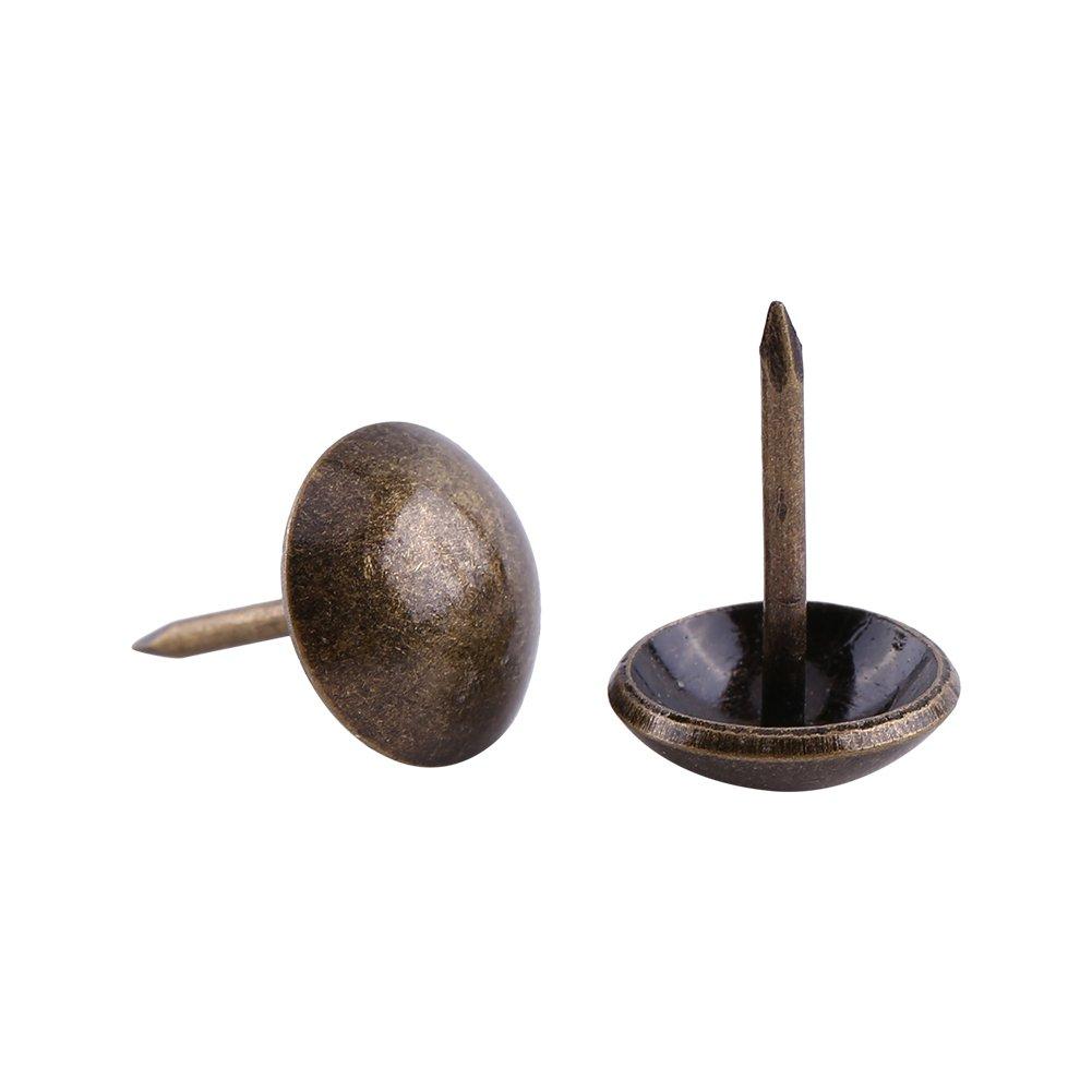 Walfront 1 Sac de 100pcs Rétro Clous Décoratifs Antiques Couleur Bronze Antique en Fer pour Décoration Canapé Tapisser Punaise Meuble