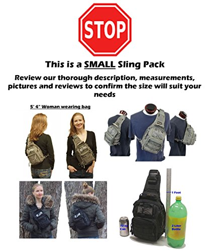 Review TravTac Stage II Small Sling Bag, Premium EDC Tactical Sling Pack 900D (ACU Camo)