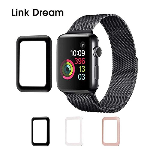 Apple Watch Tempered Glass 38mm Series 3 Anti Bubble Watch Screen Protector Scratch Free Metal Frame Full Coverage Apple Watch Accessories - Black