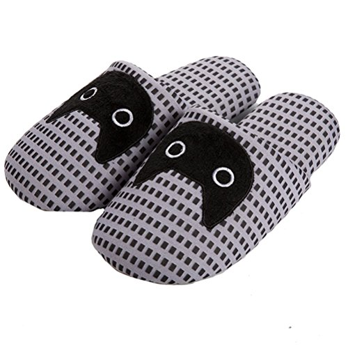 YUTIANHOME Ladies Slippers Womens Cat Closed Indoor Shoes With Non Slip Soles cat pattern grey