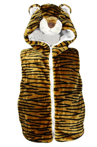 Bioterti Kids' Animal Hooded Vest for Dress Up/with Pockets/Manufacture/ 16 Amazing Styles (Small, Tiger) -