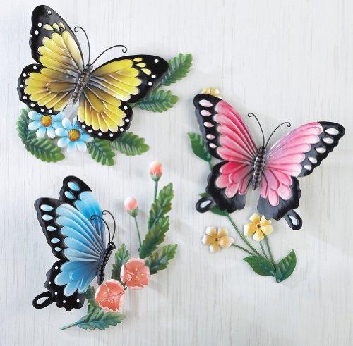 Trio Butterfly Art (Set of 3 Spring Butterfly 3D Trio Elegant Vibrant Bird Metal Plaque Wall Sculpture Hanging Art Decor)