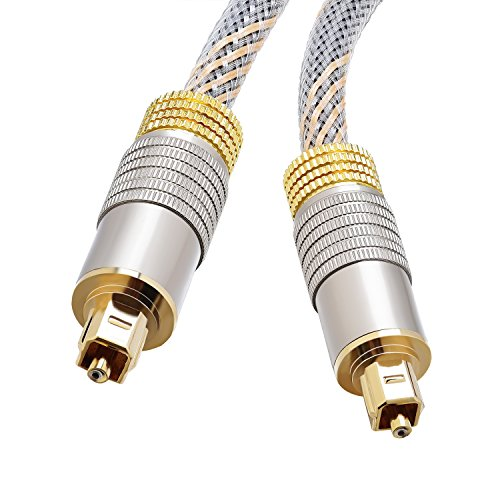 Toslink Cable 6 FT 10FT(Digital optical Audio Cable/Toslink Optical Cable),Home Theater Fiber Optic Gold Plated Male to Male Braided Jacket for Playstation&Xbox-Pro Series (10 Feet)