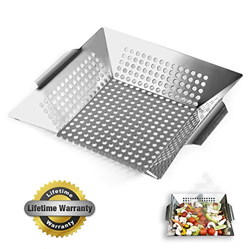 """Nonstick Stainless Steel Vegetable Grill Basket & Wok Topper with Carry Handles & Bonus Ebook for No Mess Stir Fry & Grilling Fish, Seafood, Veggies & Fruit by Luxury Grill Products, 12 x 12 x 2.24"""""""