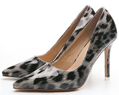 Mujer Alto Zapatos Bigtree Gris Tacón Vestir Leopardo Fiesta Boda Sexy De Puntiagudo xAnfEE