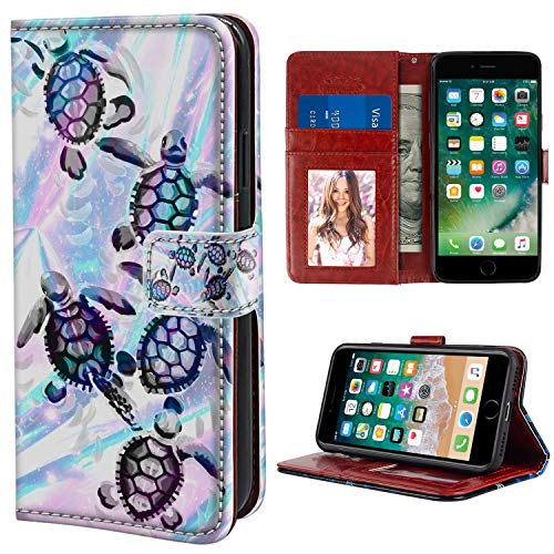 YaoLang iPhone 6/6S Wallet Case, Sea Turtles PU Leather Standable Wallet Phone Case with Card Holder Magnetic Hold for iPhone ()