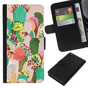 For HTC DESIRE 816 Case , Painting Colorful Mexico Art - la tarjeta de Crédito Slots PU Funda de cuero Monedero caso cubierta de piel