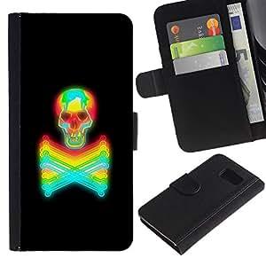 LASTONE PHONE CASE / Lujo Billetera de Cuero Caso del tirón Titular de la tarjeta Flip Carcasa Funda para Samsung Galaxy S6 SM-G920 / Toxic Keep Away Crossbones Skull