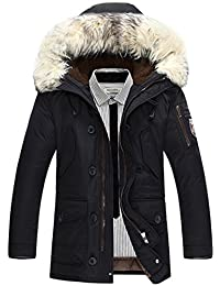 K3K Winter Mens Duck Down Thick Warm Coat Hooded Fur Collar Jackets Parka