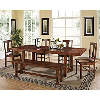 Amazon.com - Dex Dining Table, 4 Side Chairs & Bench - Table ...