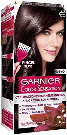 Garnier Color Sensation - Tinte Permanente Castaño Oscuro 3.0, disponible en más de 20 tonos