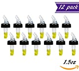 (Pack of 12) Measured Liquor Bottle Pourers, 1.5 oz, Clear Spout Bottle Pourer with Yellow Tail and Black Collar, Measured Pour Spouts by Tezzorio