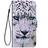 IKASEFU Case Compatible with Samsung Galaxy A50 Pu Leather Wallet Strap Case Card Slots Shockproof Magnetic Leather Folio Flip Book Cover with Card Slots Stand Protective Cute Case,leopard