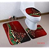 PESTORY 3-Piece Bathroom Set Bath Mat Toilet Seat Covers Non-Slip Rubber Backing (Xmas Tree)