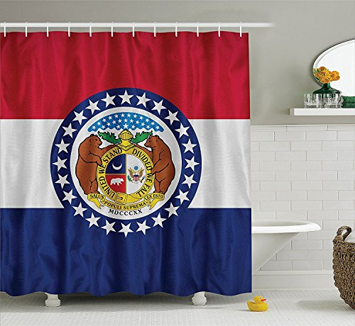 [American Decor Collection Missouri Flag Valor Purity Vigilance and Justice Nationality Historic Identity Image Polyester Fabric Bathroom Shower Curtain Set with Hooks Blue] (Nationalities Around The World Costumes)