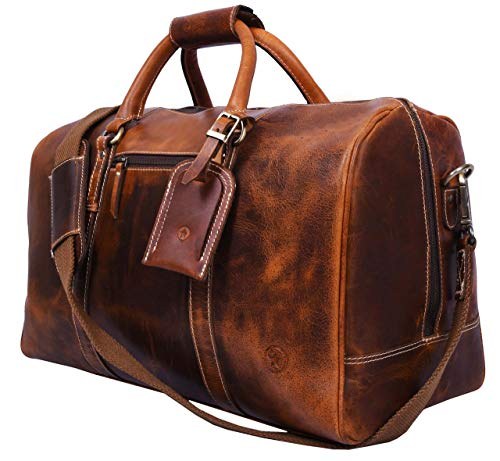 Leather Travel Duffle Bag | Gym Sports Bag Airplane Luggage Carry-On Bag By Aaron Leather (Caramel) (Best Leather Weekend Bag)