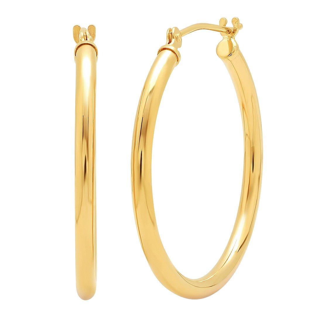 14K Yellow Gold 1 inch Round Hoop Earrings