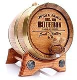 5 Liter Custom Engraved Bourbon Golden Oak Barrel - Brass Hoops   30 page Guide   No Leaks Guarantee