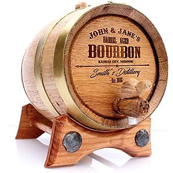 Personalized Whiskey Oak Barrel – 5 Liter Brass Hoops - Engraved Bourbon Template