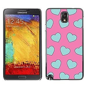 rígido protector delgado Shell Prima Delgada Casa Carcasa Funda Case Bandera Cover Armor para Samsung Note 3 N9000 N9002 N9005 /Pink Pattern Heart Love/ STRONG